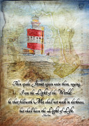 Watercolor Map Mixed Media - Hookhead lighthouse painting with verse by Debbie Portwood