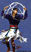 Native American Culture Framed Prints - Hoop Dancer 4 Framed Print by Linda  Parker