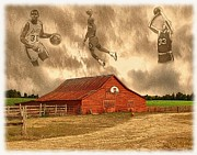 Rural Indiana Digital Art Prints - Hoop Dreams Print by Charles Ott