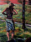 Hoop Painting Prints - Hooping in the Park Print by Denny Morreale