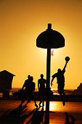 Basket Ball Game Framed Prints - Hoops at Sunset Framed Print by James Kirkikis