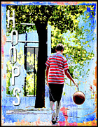 Basketball Sports Mixed Media Prints - Hoops Basketball Print Print by Adspice Studios