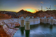 Hoover Prints - Hoover Dam at Sunset Print by Eddie Yerkish
