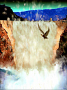 Canyons Paintings - Hoover Dam Eagle by Daniel Janda
