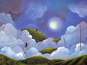 Surreal Landscape Painting Metal Prints - Hop Skip And A jump. Fantasy Clouds Fairytale Art By Philippe Fernandez   Metal Print by Philippe Fernandez