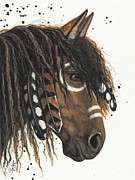 Hand-painted Portraits Paintings - Hopa Majestic Mustang Series 47 by AmyLyn Bihrle