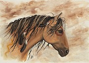 Feathers Paintings - Hopa - Majestic Mustang Series by AmyLyn Bihrle