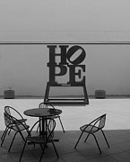 Indiana Scenes Digital Art Metal Prints - HOPE and CHAIRS in BLACK AND WHITE Metal Print by Rob Hans