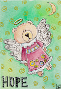 Artisan Made Framed Prints - Hope - Angel Teddy Bear Framed Print by K Nicole Rogalski