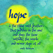 Typographic Mixed Media Prints - Hope by Emily Dickinson Print by Ginny Gaura