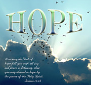 Light Blue Gray Posters - Hope Poster by Carolyn Marshall