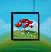 Red Tree Paintings - Hope by Cindy Thornton