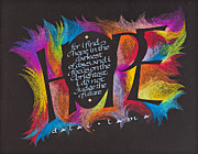 Calligraphy Mixed Media Prints - Hope Print by Claire Griffin