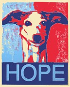 Obama Poster Framed Prints - Hope Hound  Framed Print by Kazumi Whitemoon
