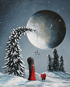Winter Night Art - Hope Is On Her Way by Shawna Erback by Shawna Erback