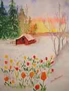 Snowscape Paintings - Hope by Jan Freeman