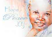 Watercolour Portrait Prints - Hope Peace Joy Print by Stephie Butler