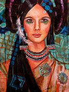 Indian Maiden Paintings - Hope Waits by Kimberly Van Rossum