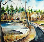 Pond And Trees Painting Acrylic Prints - Hopedale January Thaw  Acrylic Print by Scott Nelson