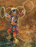 Hoop Painting Prints - Hopi Hoop Dancer Print by Marilyn Smith
