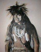 Native American Spirit Portrait Mixed Media Prints - Hopi Snake Priest Print by Terri Ana Stokes