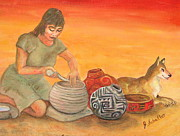 Hopi Indian Paintings - Hopi Woman by Jodie  Scheller