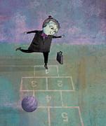 Game Digital Art Prints - Hopscotch Print by Dennis Wunsch