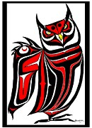 Pole Drawings Metal Prints - Hornd Owl Metal Print by Speakthunder Berry