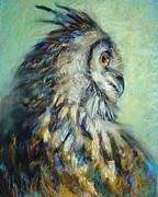 Owl Pastels - Horned Owl Study 1 by Tonja  Sell