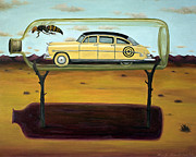 Humor Painting Prints - Hornets In A Bottle Print by Leah Saulnier The Painting Maniac