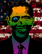 Barack Obama Paintings - Horrific Zombie Obama by Robert Phelps