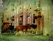 Horse And Buggy Digital Art Prints - Horse and Buggy Street Scene Photograph Print by Stephan Chagnon and Laura  Carter