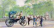 American City Painting Prints - Horse and Carriage Print by Anthony Butera