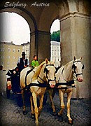 Horse And Buggy Framed Prints - Horse and Carriage in Salzburg Austria Framed Print by John Malone