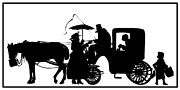 Horse Whip Digital Art Posters - Horse and Carriage Silhouette Poster by Rose Santuci-Sofranko