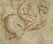 Horse And Cavalier Print by Leonardo da Vinci