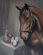 Pet Portraits Art - Horse and Chickens - Together in the Barn by Sharon Challand