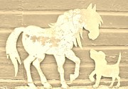 Primitive Pyrography Prints - Horse and Do9g Print by Larry Campbell