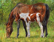Foal Paintings - Horse and Foal by David Stribbling