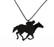 Horse Necklace Jewelry - Horse and Jockey Pendant Necklace by Rony Bank
