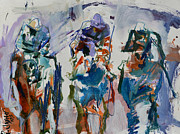 Abstract Horse Paintings - Horse and Jockey Print by Robert Joyner
