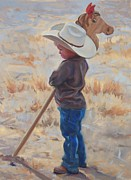 Cow Boy Paintings - Horse and Rider by Christine Lytwynczuk