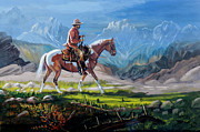 Pinto Painting Originals - Horse and Rider by Denis Grosjean