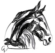 Digitals Prints - Horse- Apple -Digi - black and white Print by Go Van Kampen