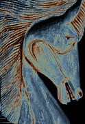 Blue And Brown Prints - Horse Carving in Blue Print by Ann Powell