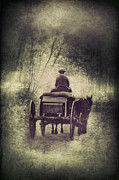 Drawn Framed Prints - Horse Drawn Coach Framed Print by Jill Battaglia