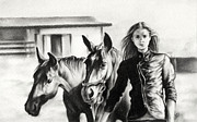 Monotone Drawings Prints - Horse Farm Print by Natasha Denger