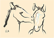 Horse-foals-together 6 Print by Go Van Kampen