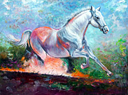 Red Band Painting Originals - Horse by Gabor Osi