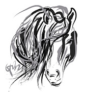Horses Art - Horse- Hair and horse by Go Van Kampen